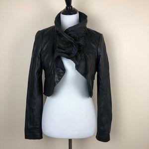BCBGMAXAZRIA 100% leather jacket w/ zipper detail